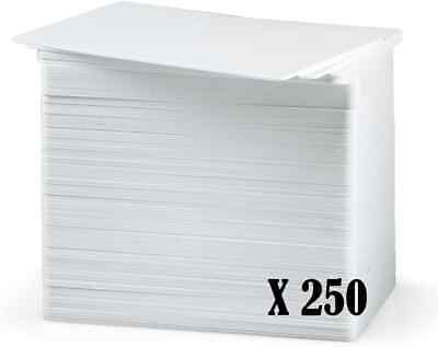 250 X White Blank Plastic Cards, CR80 CR80, PVC 760 Microns, For ID Card Printer • 19.99£