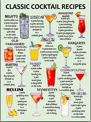 £4.85 • Buy Cocktail Signs Cocktail RECIPES Home Bar Cafe Kitchen Restaurant Man Cave
