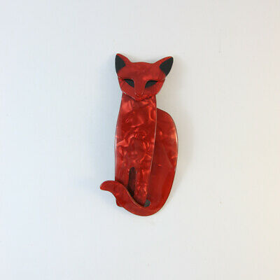£87.23 • Buy Lea Stein Quarrelsome Cat Brooch Pin - Ruby Red Grid With Black Eyes & Ears