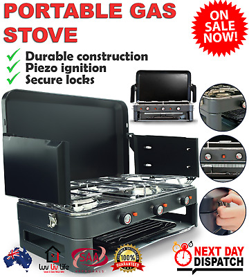 AU208.95 • Buy Deluxe 2 Burner Grill Stove Portable Gas Stove Kitchen Outdoor BBQ Cooking