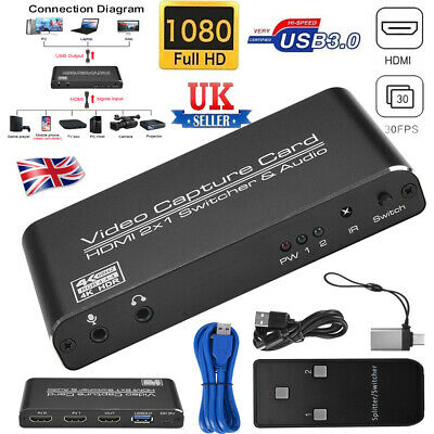 HDMI To USB3.0 Video Capture Card 4K 60Hz 2x1 Game Streaming Live Recorder Box • 57.88£