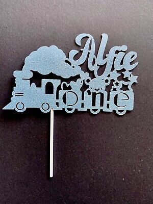 Train Custom Glitter Cake Topper Party Birthday Personalised, Name Age Colour • 3.50£
