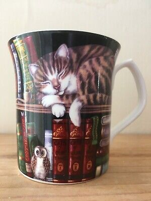 Lovely Small PAST TIMES China Mug Wth Tabby Cat Sleeping In Library BNWOT • 10.70£