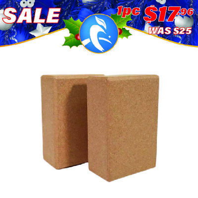 AU22.05 • Buy Yoga Block Brick Natural Cork Fitness Sport Eco Stretch Aid Gym Exercise Cushion