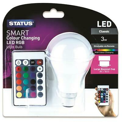 £8.49 • Buy Colour Changing LED Light Bulb B22 Bayonet RGB+W Dimmable Remote Controlled Lamp
