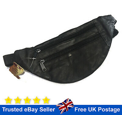 Leather Bum Bag Black Waist Belt Money Belt Fanny Pouch Holiday Travel Wallet  • 4.99£