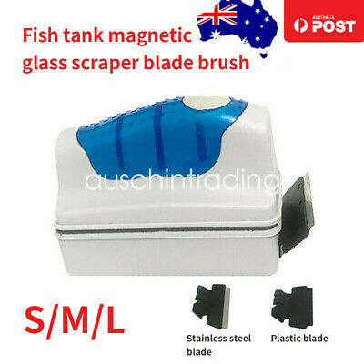 AU16.69 • Buy Magnetic Fish Tank Brush Algae Magnet Aquarium Glass Aquatic Cleaner W/ Scraper