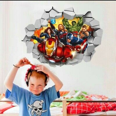 3d Marvel's Avengers Movie Through Wall Stickers For Kids Room Wall 45*60cm • 5.99£