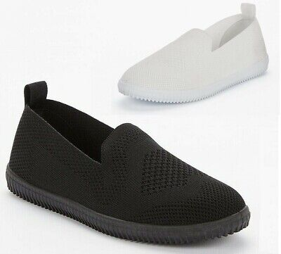 Womens Ladies Low Wedge Slip On Knit Pumps Trainers Shoes Nurse Work Size 3-8 • 9.89£