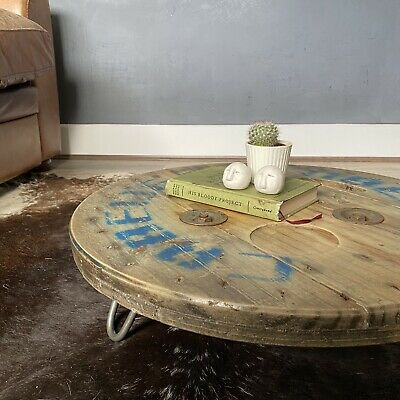 Rustic Reclaimed Wood Cable Drum Coffee Table  • 120£