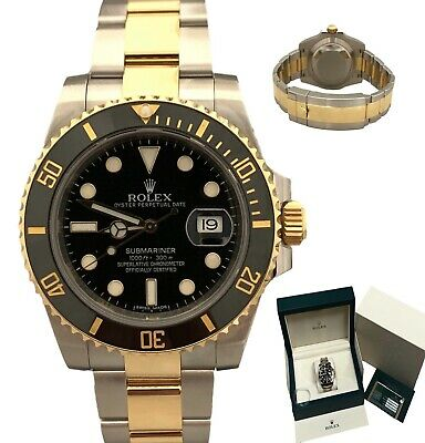 $ CDN19437.99 • Buy Rolex Submariner Two Tone 18K Gold Black Ceramic 116613 Box & Papers 2015 Watch