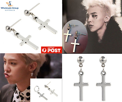 AU6.95 • Buy 1 Pair Unisex Silver Cross Earrings Stud Korean Hoop Dangle Huggies Punk Pendant