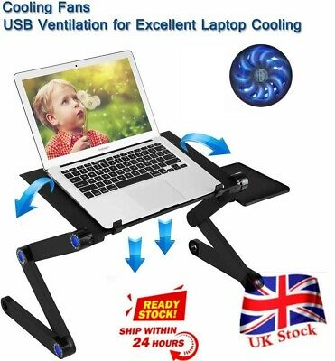 Folding Notebook Laptop Desk Table Stand Sofa Bed Tray W/ Cooling Fan Mouse Boad • 20.17£