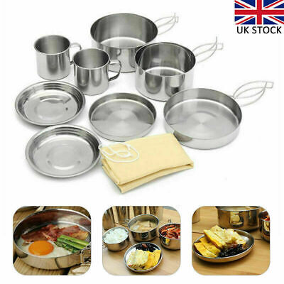 £12.83 • Buy 8PC Folding Cooking Picnic Pot Pan Set Outdoor Backpacking Camping Equipment Kit