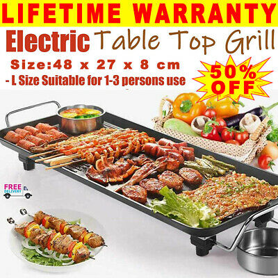 Electric Teppanyaki Table Top Grill Griddle BBQ Hot Plate Barbecue Large Size UK • 13.25£