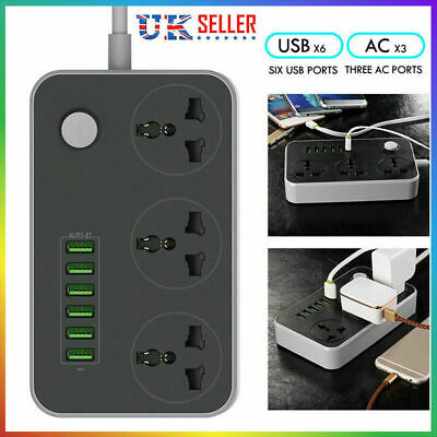 3Way Gang Switched Socket Surge Protect Extension Lead  6 USB Ports 100-250V NEW • 11.96£