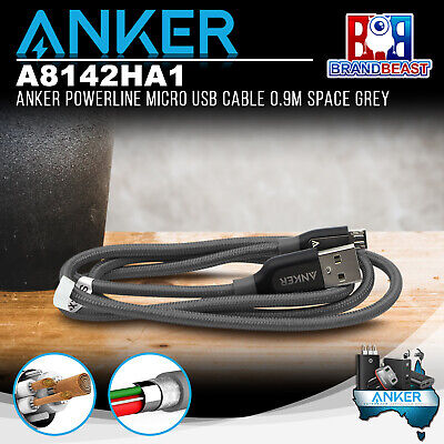 AU22.95 • Buy Anker A8142HA1 PowerLine+ Micro 0.9m Smartphones USB Cable With Pouch Space Grey