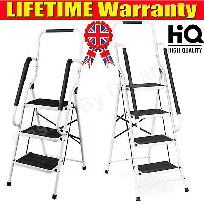 £8.88 • Buy Folding 1 2 3 4 Step Ladder Safety Non Slip Mat Tread Small Stool Ladders Home