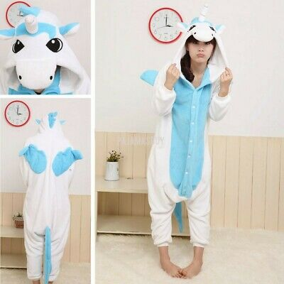 AU10 • Buy Adult Blue Cute Unicorn Costume Pajamas Animal Cosplay Sleepwear One Piece