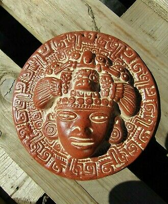 £21.99 • Buy Hand Carved Made Ceramic Pico De Aiguilla Mayan Wall Art Hanging Plaque Mask
