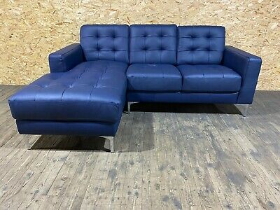 Brook Premium Leather 3 Seater Left Hand Corner Chaise Sofa - Blue • 599.99£