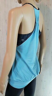 $ CDN44 • Buy Lululemon No Limits Tank Blue Moon Ziggy Wee Stripe Inkwell Size 4