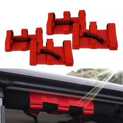 AU35.09 • Buy 4x Red Grab Handles Grip Handle For Jeep Wrangler YJ TJ JK Sports Sahara 87-2020