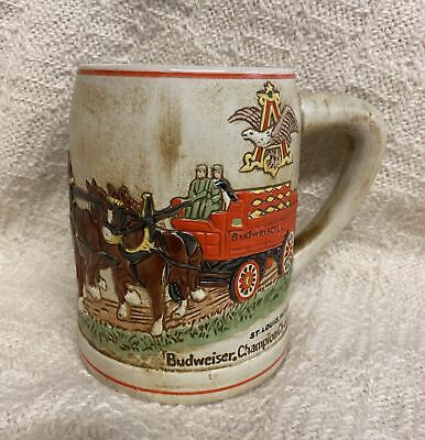 $ CDN58.80 • Buy 1980 Budweiser Champion Clydesdales Holiday Beer Mug Stein Ceramarte Made In Bra