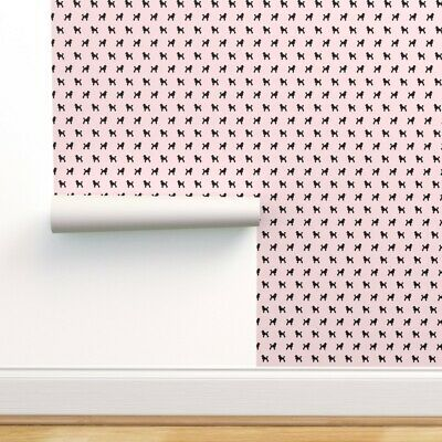 Removable Water-Activated Wallpaper 50S Poodle Pink Dogs Pet Silhouette Dog • 32.04£