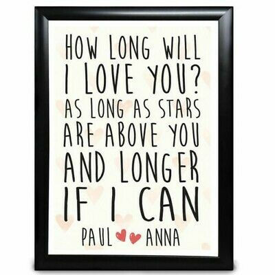 AU11.40 • Buy How Long Will I Love You Personalised Gifts For Him Girlfriend Anniversary