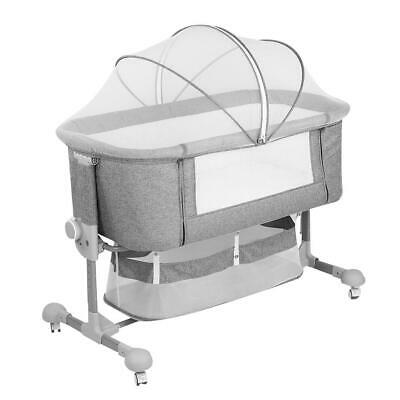 UK Height Adjustable Baby Crib Bedside Cot Bed Gray Mosquito & Wheels Next To Me • 129.99£