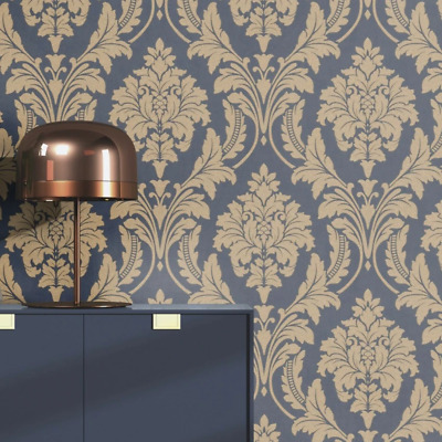 Glam Blue And Gold Grand Damask Wallpaper Paste The Wall By Rasch 541649 • 18.99£