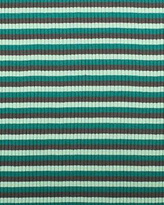 Green And Charcoal Striped Rib Knit Jersey Cotton Dress Fabric By The Half Metre • 2.75£