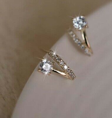 AU7.99 • Buy Elegant 18K Gold GF Fashion Crystal Rhinestone CRYSTAL Stud Earrings Gift Women