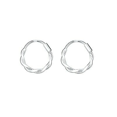 AU13.95 • Buy 925 Sterling Silver Petite Twisted Hoop Sleeper Huggies Earrings Men Women Girls