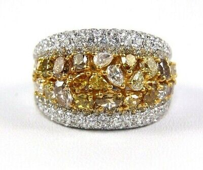 Natural Canary Yellow Diamond Mix Cut Cluster Wide Ring 14k White Gold 5.20Ct • 3,862.94£