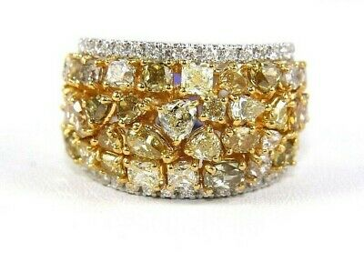 Natural Canary Yellow Diamond Mix Cut Cluster Wide Ring 14k White Gold 4.65Ct • 3,541.03£
