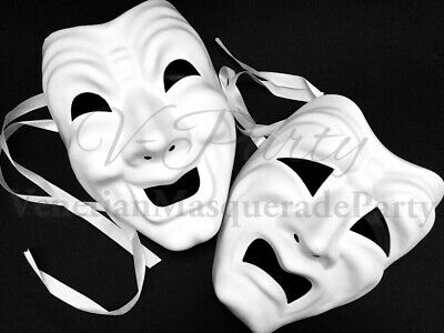 £24.02 • Buy Comedy Tragedy White Blank Masquerade DIY Mask Halloween Parade Cosplay Costume