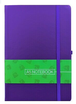 A5 New Hardback Lined Notepad Notebook Note Book Notes Journal Diary - Purple • 4.99£
