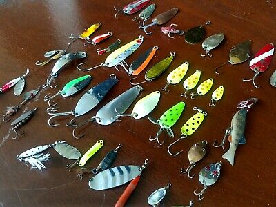 $ CDN44.22 • Buy Mixed Fishing Lures Spoons Spinners Lot Of 38 Vtg/Newer Salmon Trout Pike
