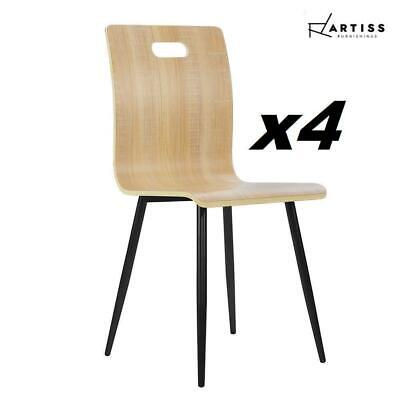 AU81.60 • Buy Artiss Dining Chairs Bentwood Seater Metal Legs Wooden Chair Cafe Kitchen X4