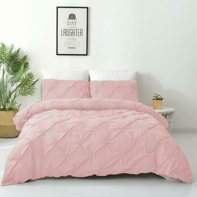 AU29 • Buy Single/Double/Queen/King Diamond Embroidery Pintuck Quilt/Duvet Cover Set-Blush