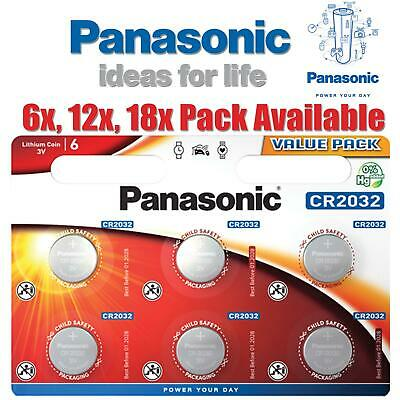 6 12 18 Panasonic CR2032 3V Lithium Coin Cell 2032 Battery Car Key Toys Remote • 3.49£