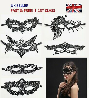 Black Sexy Lace Face Eye Mask Masquerade Ball Gothic Costume Party Halloween UK • 2.25£