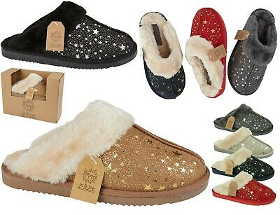 Ladies Mule Slippers Ladies Mules Slip On Slippers Sheepskin Slippers Hard Sole • 11.89£