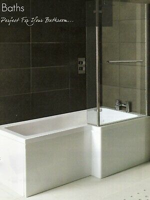 Whirlpool Shower Bath  L Shaped Right Hand 'MATRIX' 1700mm With 10 Jets  • 597£