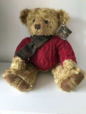 "Harrods Christmas 2005 Foot Dated 20th Anniversary Bear 13"" Tall Nicholas • 15.95£"