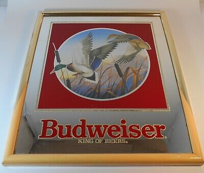 $ CDN65.90 • Buy Vintage 1992 Budweiser King Of Beers Mallard Ducks Mirrored Sign # 102-252