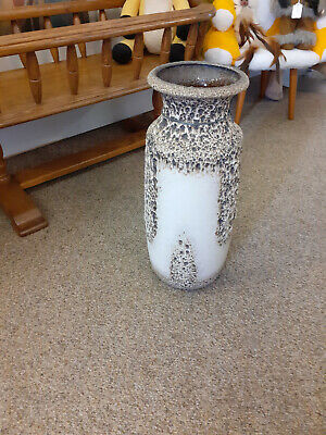 Vintage Large West German Lava Floor Vase, Unstamped. Cream, Brown And Grey  • 35£