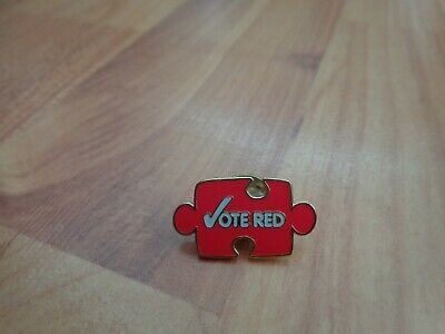 Classic Political Labour Party 'vote Red' Jigsaw Piece Enamel Pin Badge • 8.99£
